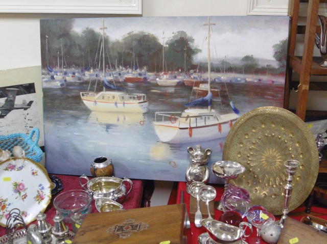 Modern picture of boats on an estuary, we sell antiques and collectables!